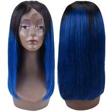 13x4 Short Bob Wigs 150% Density Brazilian Straight 1B/blue 1B/pink Lace Wig Ombre Lace Front Human Hair Wigs стоимость