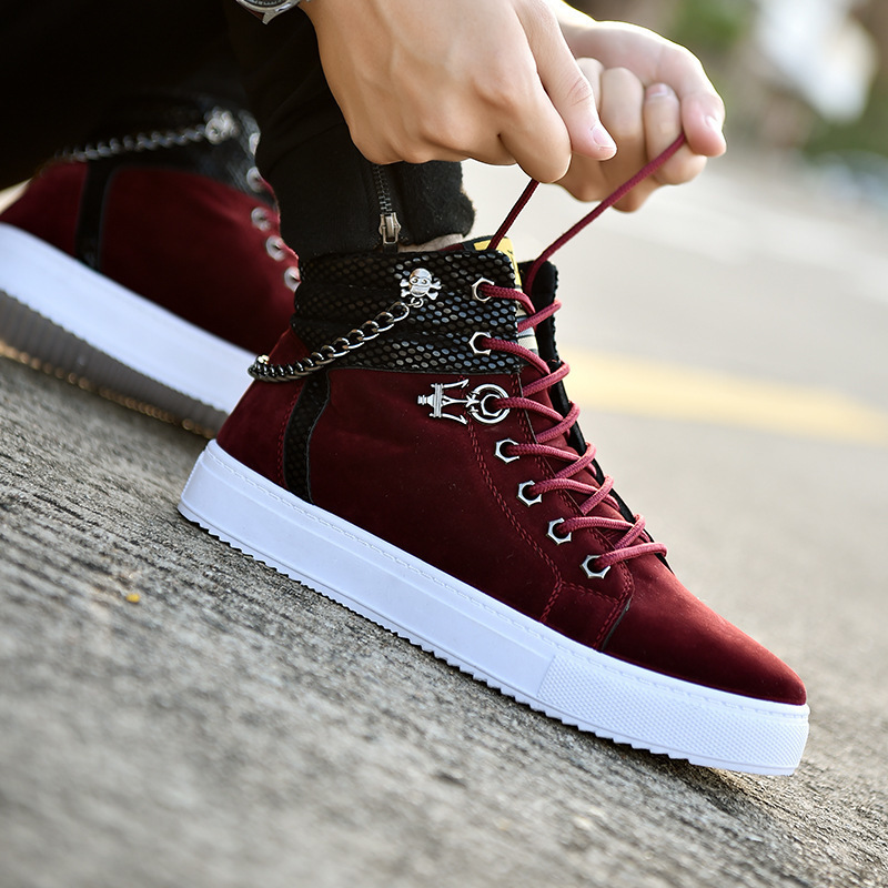 Top Vulcanized New High Quality Canvas Casual Shoes Men Autumn Leather Sneakers Metal Chain Plus Size Male s