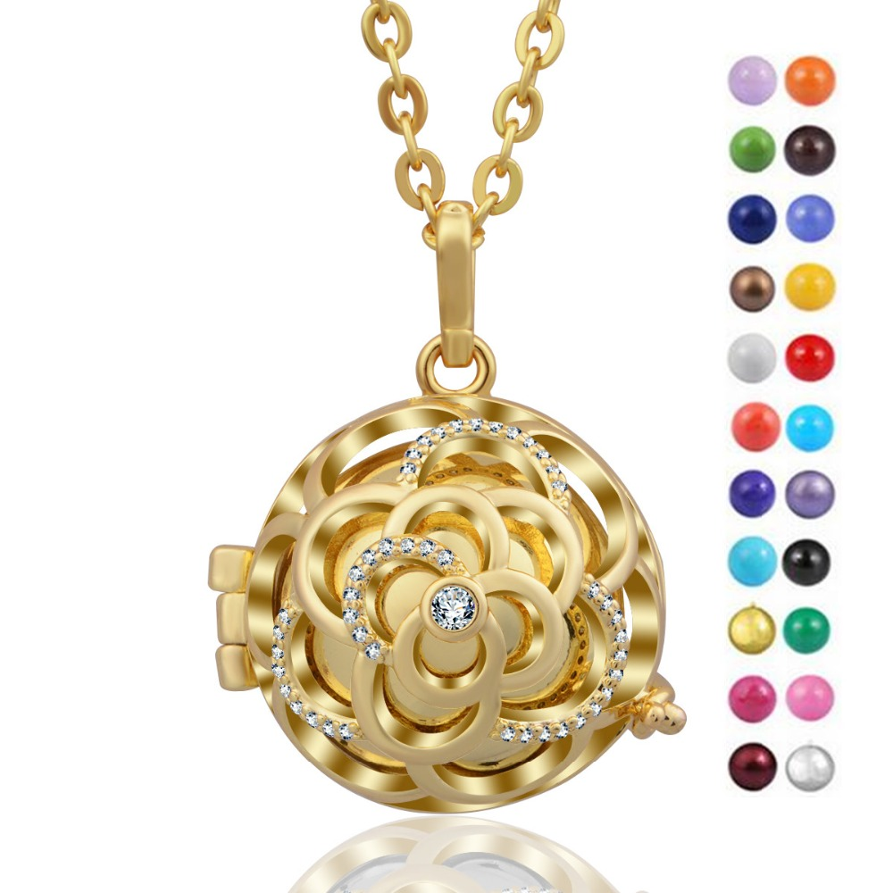 Angel Caller Harmony Bola Hollow Flower Floating Locket Cage With Colorful Ringing Chime ball Pendant Pregnancy Women Jewelry
