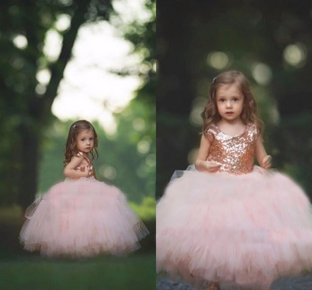 Rose Gold Sequins Blush Tulle Ball Gown Flower Girls Dresses 2018 Cap Sleeve Puffy Little Girls Birthday Party Dress Any Size romana мф 1 2 04 02