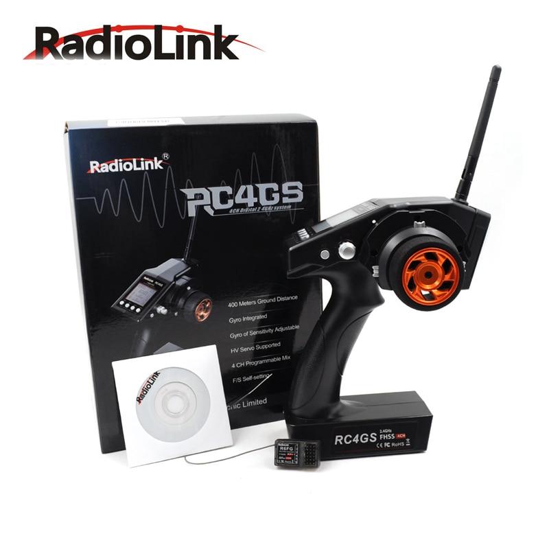 RadioLink RC4GS 2 4G 4CH Car Controller Transmitter R6FG Gyro Inside Receiver for RC Car Boat