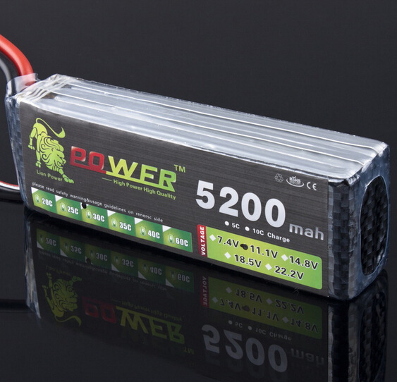 Lion Power Lipo 11.1V 5200mah MAX 35C T/XT60 3s Battery For Halicopter Boat Airplanes 11.1 V 5200mah lipo battery