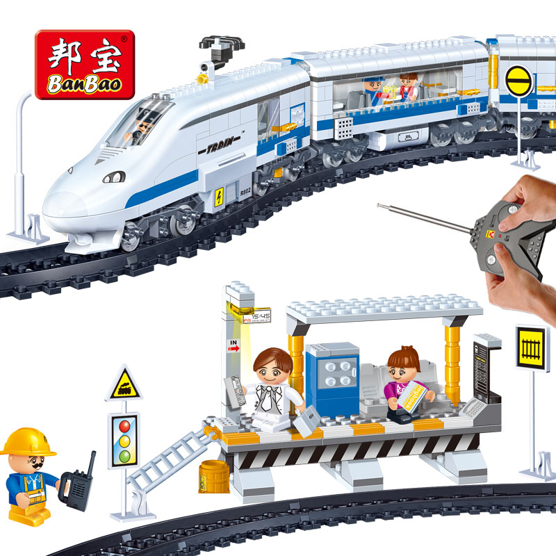 BanBao Train Rails Station Remote Control Transportation Bricks Educational Building Blocks Model Toys 8221 Kids Children Gift