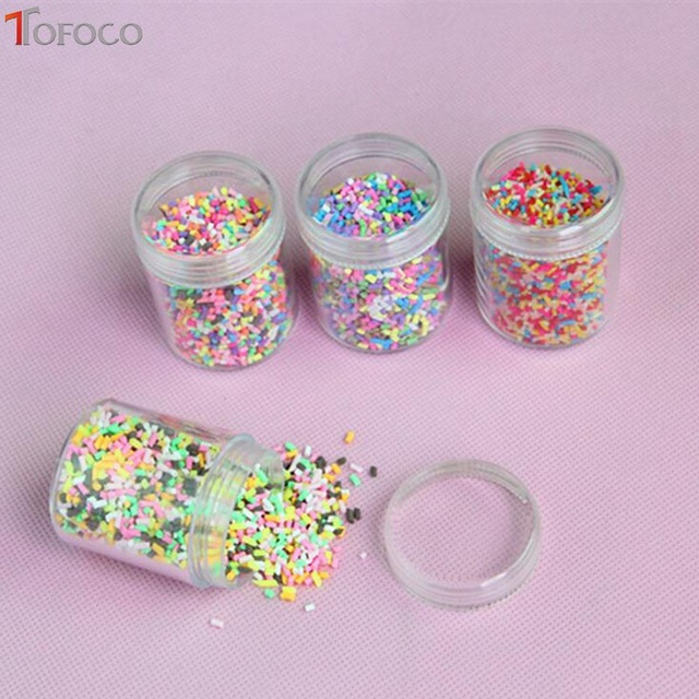 TOFOCO 1 Box Slime Clay Sprinkles For Filler Slime DIY Supplies Candy Fake Cake Dessert Mud Particles Decoration Toys
