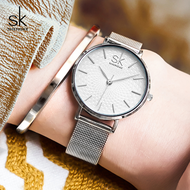 где купить Shengke Watches Women Top Brand Luxury Silver Quartz Watch Stainless Steel Bracelet Watches Ladies Clock 2018 SK Relojes Mujer дешево