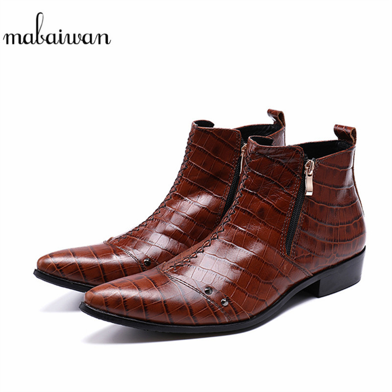 Mabaiwan 2018 New Fashion Rivets Men Shoes Snow Ankle Boots Pointed Toe Leather Wedding Shoes Men Flats Side Zip Military Boots lozoga new men shoes fashion boots ankle 100