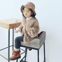 Infantile Del Bambino della ragazza di Inverno Faux Fur Coat Giacca 2017 Ragazze Cappotto di Inverno Caldo marrone Maniche Lunghe Tuta Sportiva per le Ragazze vestiti