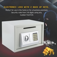 Durable 16L Mini ATM Money Box Digital Safety Box Home Office Money Cash Safety Organizer Safe Electronic Security Machine