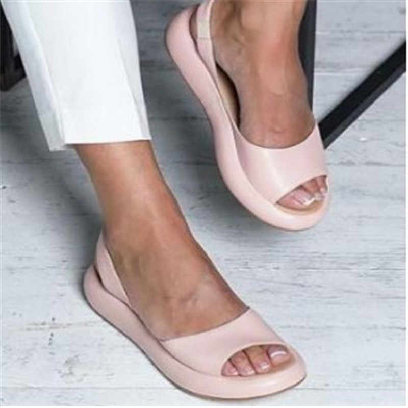 Litthing 2019 الصيف أسافين الصنادل الأبيض موضة مثير المفتوحة تو منصة مصعد أحذية نسائية حجم كبير 34-43 مضخات الوردي
