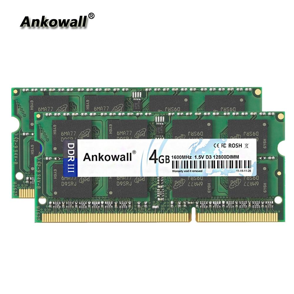 Ankowall DDR3 1600Mhz 8GB Kit (2x4 GB) PC3-12800 4GB RAM 1600 MHz SODIMM Memória Notebook Laptop RAM