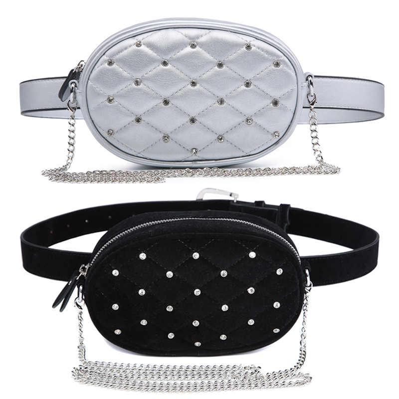 Jiessie & アンジェラファッション新ブランドデザイナー女性の女性ベルトバッグ女性財布ウエストファニーパックのショルダー黒ベルベット