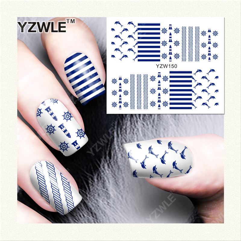 YZWLE 1 Sheet DIY Decals Nails Art Water Transfer Printing Stickers Accessories For Manicure Salon (YZW-150) yzwle 1 sheet hot gold 3d nail art stickers diy nail decorations decals foils wraps manicure styling tools yzw 6015
