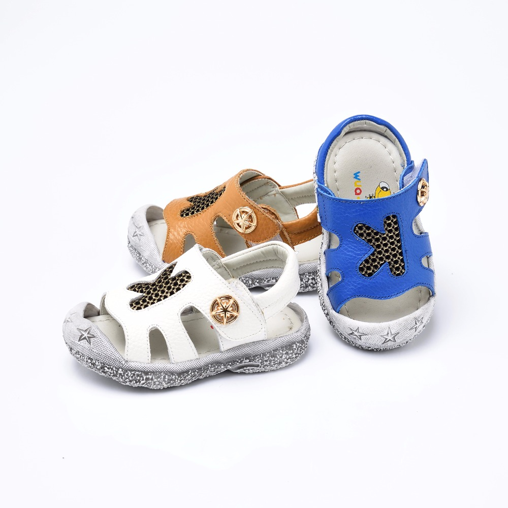 High quality closed toe toddler boys sandals orthopedic sport real leather baby boys sandals shoes
