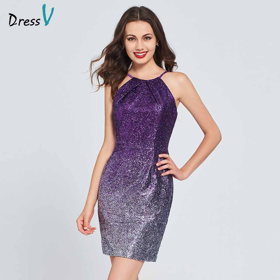 Dressv Purple Cocktail Dress Elegant Spaghetti Straps Sheath Sleeveless Sequins Wedding Party Formal Dress Cocktail Dresses