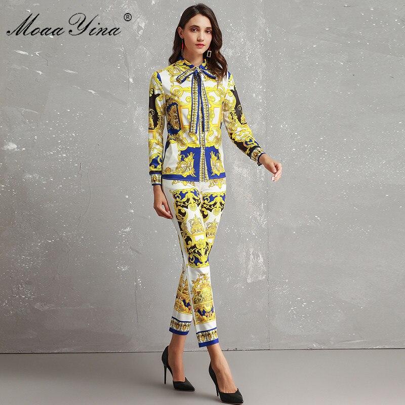 MoaaYina conjunto de diseñador de moda mujer de alta calidad de manga larga Vintage impreso elegante camisa + 3/4 pantalones lápiz dos  traje de pieza-in Conjuntos de mujer from Ropa de mujer    3