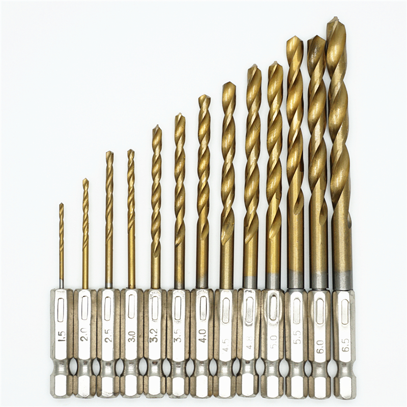 New HSS 13Pcs/Set  Twisted Drill Bit Set Saw Set Steel Titanium Coated  1/4 Hex Shank 1.5-6.5mm tungsten carbide wood drilling 13 mm hss titanium coated drill bit wood metal plastic cutting saw set drill bit drill bit set drill bit