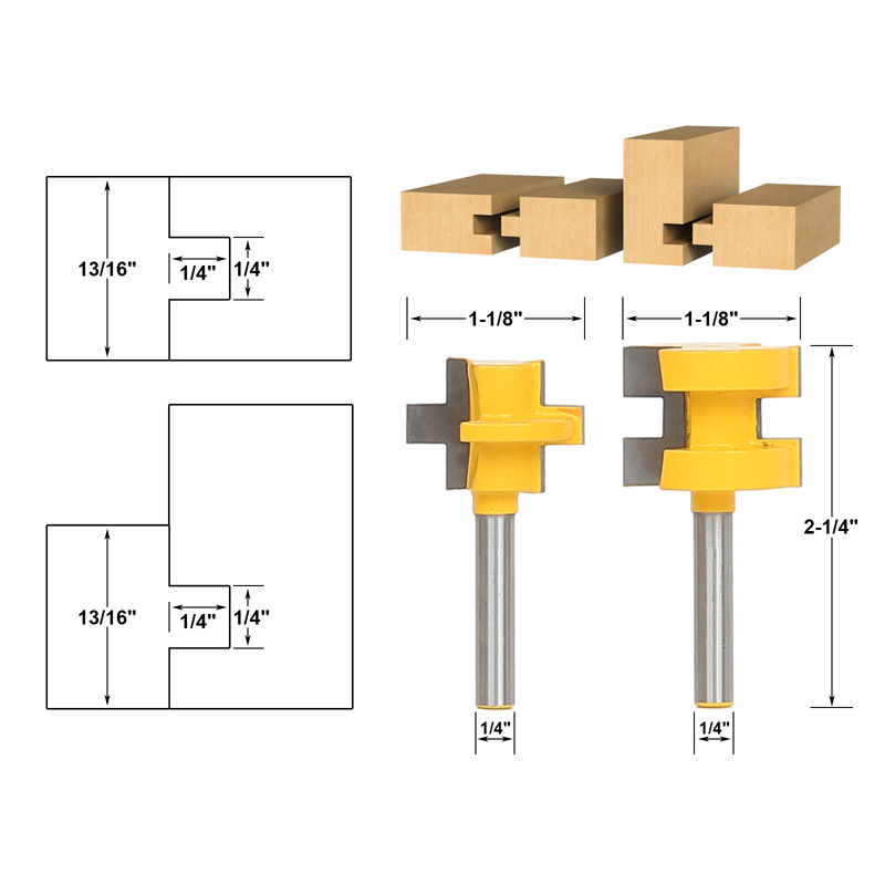 2pc 1/4 Shank Mini Tongue & Groove Router Bit Set - Line knife Woodworking cutter Tenon Cutter for Woodworking Tools