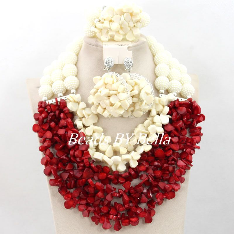 Latest New Red White Coral African Beads Jewelry Set Women Costume Necklace Set Wedding Party Jewelry Set Free Shipping ABY922Latest New Red White Coral African Beads Jewelry Set Women Costume Necklace Set Wedding Party Jewelry Set Free Shipping ABY922
