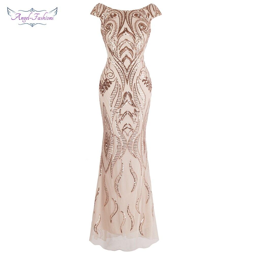 Модное длинное вечернее платье с рукавами-крылышками и v-образным вырезом сзади в винтажном стиле с пайетками и русалочкой светло-кораллово...