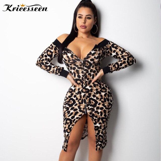 Kricesseen Sexy Leopard Printed Split Mini Dress Women Autumn Long Sleeve  Off Shoulder Zipper Club Party 1c3732342c05