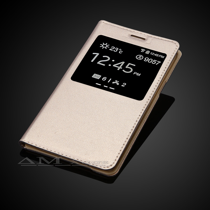 Samsung Galaxy J5 J500 J500F Lüks Geri Mənzil Batareya Qapağı Moda Pəncərə Smart Görünüşlü Dəri Çanta