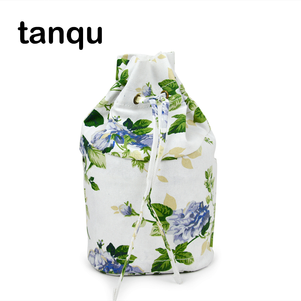 tanqu New Floral Drawstring with Buckle Canvas Fabric Inner Pocket Lining for Obasket Obag Handbag Insert for O Basket O Bag tanqu floral waterproof canvas fabric inner pocket lining for omoon light obag handbag insert organizer for o moon baby o bag