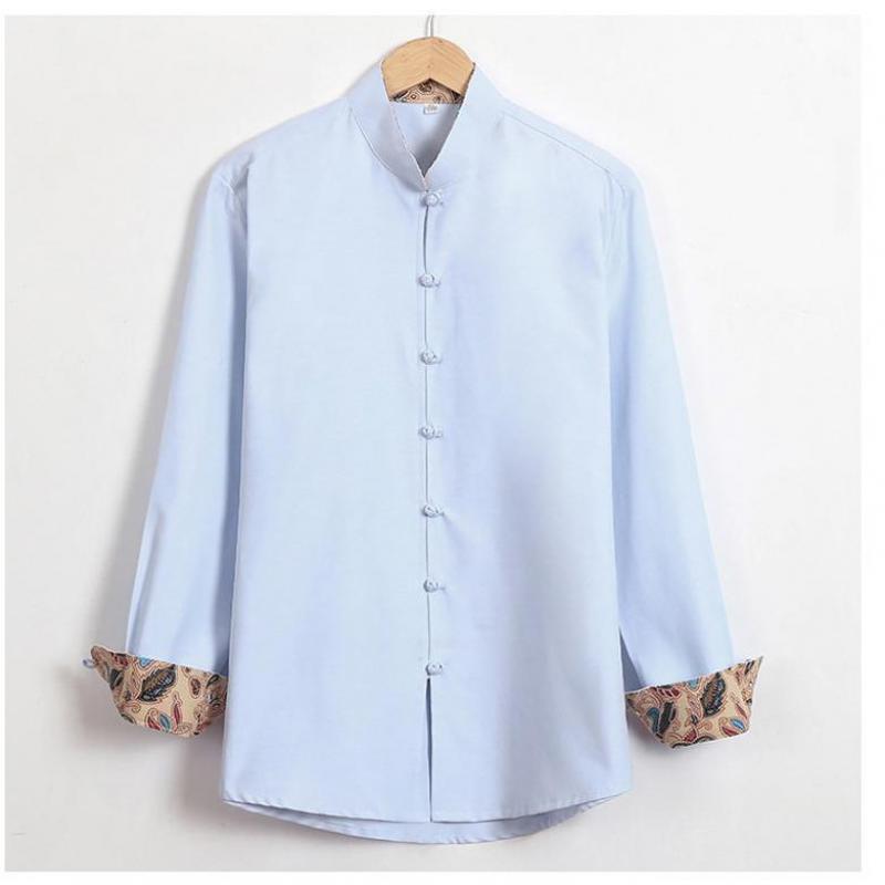 Automne 100% coton décontracté solide vêtements chinois traditionnel à manches longues Tang Top lâche simple bouton chemise de grande taille 3XL 4XL