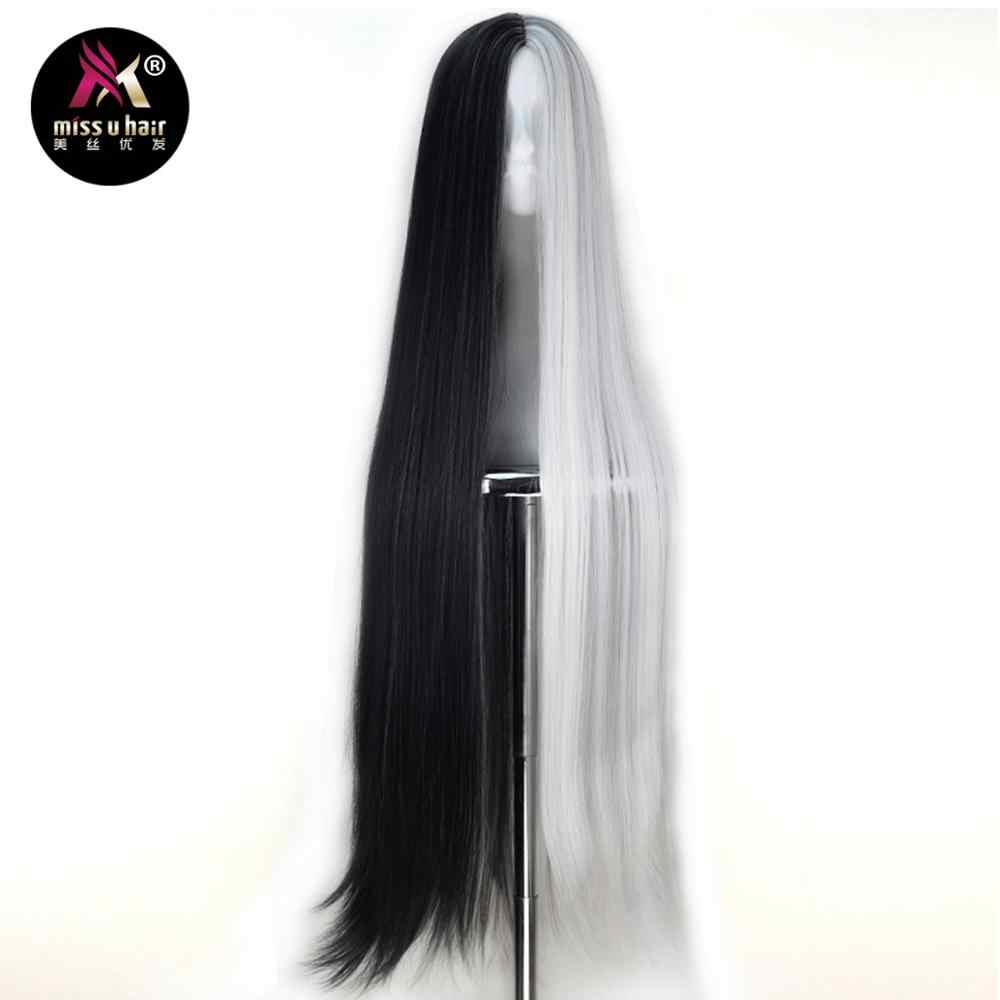 Miss U Hair Synthetic Unisex 110cm Extra Long Straight Black White Green Purple Grey Hair Halloween Cosplay Costume Party Wig