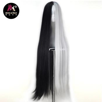 Miss U Hair Synthetic Unisex 110cm Extra Long Straight Black White Green Purple Grey Halloween Cosplay Costume Party Wig - sale item Synthetic Hair