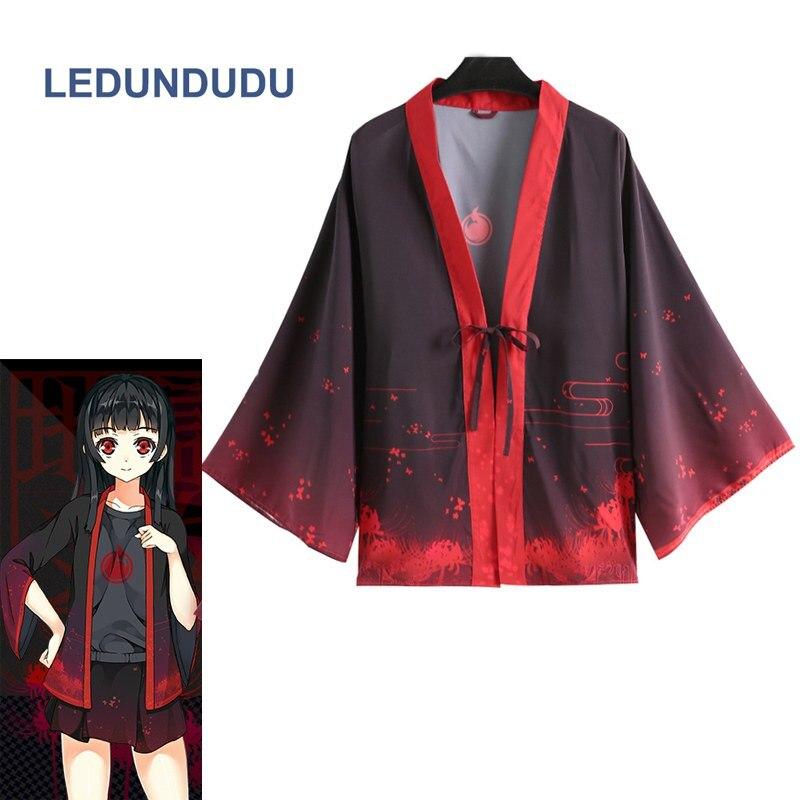 Hell Girl Cosplay Chiffon Coat Haori Bathrobes Pajamas Jigoku Shojo Enma Ai Kimono Cloaks Unisex Yukata Cos Costumes