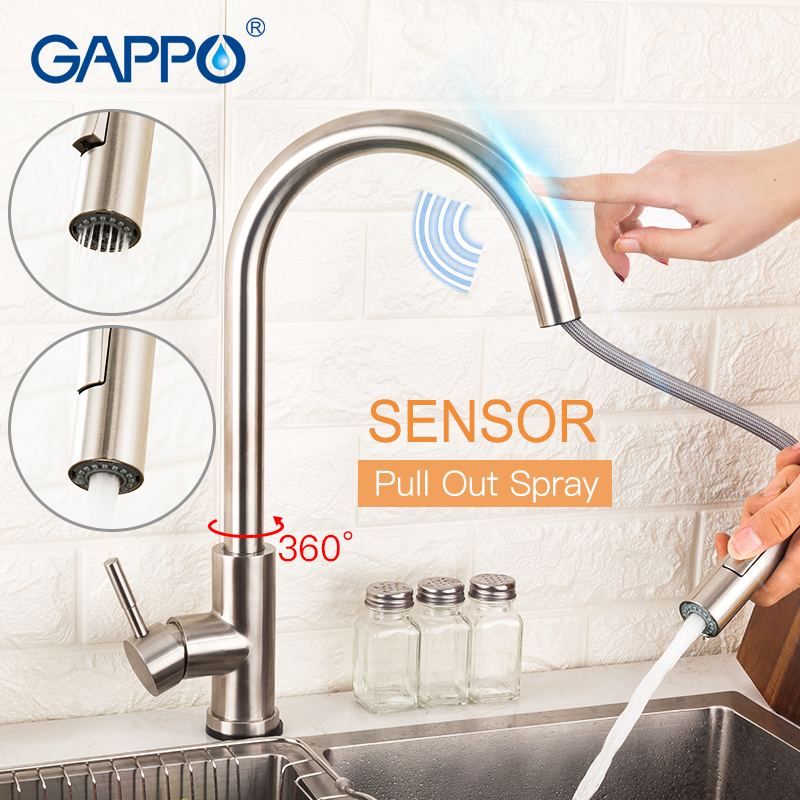 GAPPO Kitchen Sink Faucet Sensor Stainless Steel Touch Faucet Single Handle Kitchen Faucet Pull Out Dual Outlet Water Modes