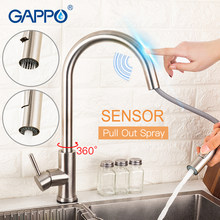Gappo Kitchen Sink Faucet Sensor Stainless Steel Sentuh Satu Pegangan Keran Keran Dapur Menarik Dual Outlet Mode Air(China)