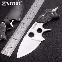 XITUO fixo faca 59HRC lâmina D2 Alemanha sobrevivência bolso edc faca Mikata alça CNC Campo de defesa Tático faca presentes
