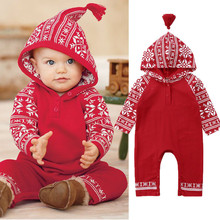 Рождественская Одежда для новорожденных; Комбинезоны для маленьких девочек и мальчиков; комбинезон со снежинками; осенняя одежда с длинными рукавами; Красная рождественская Одежда для новорожденных
