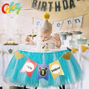 Image 3 - 1セットベビー1年の誕生日色旗チュチュネット糸ベビーチェア誕生日パーティーの装飾私は1今日バナーベビーシャワー