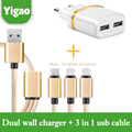 Muti Braided Micro Usb/8 pin/8pin Cable+dual usb charger For iphone 6 6s plus 5s ipad mini Samsung Galaxy for Xiaomi huawei