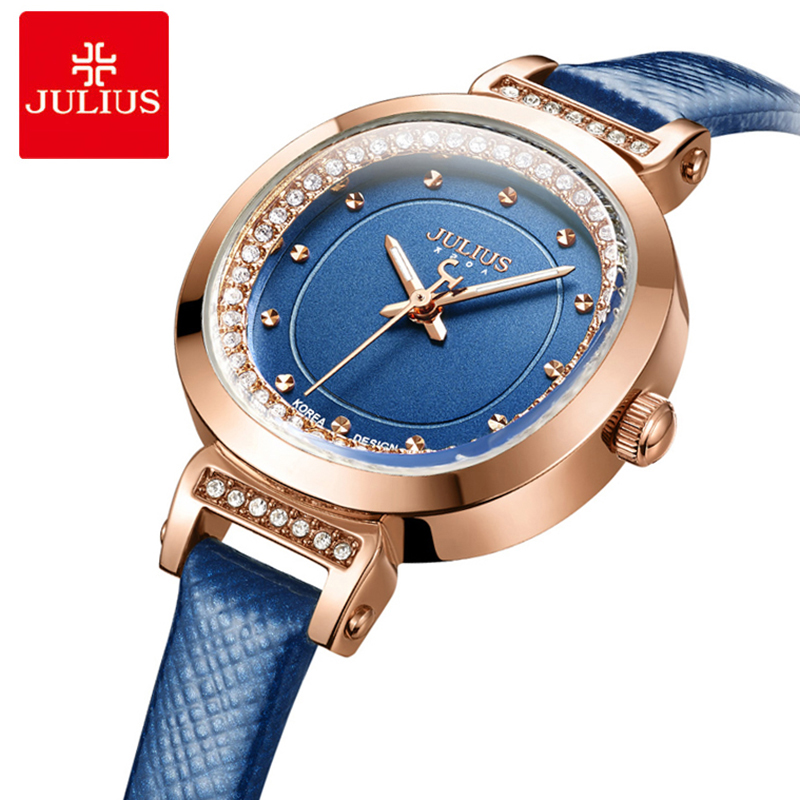 Julius Fashion Big Oval Dial Ladies Watch Women Blue Leather Wrist Watches Diamond Quartz Wrist Watches Clock Relogio Feminino julius women quartz clock watches stainless steel mesh belt ladies bracelet wrist watch thin dial female watch relogio feminino