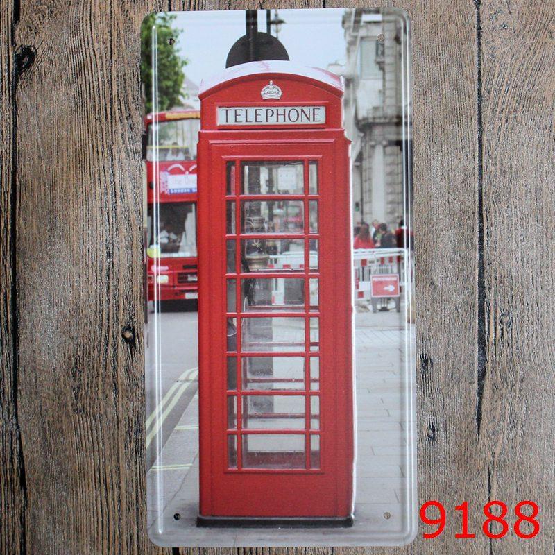 Car License London Tele Vintage Home Decor Tin Sign For Arto Store Wall Decor Metal Sign