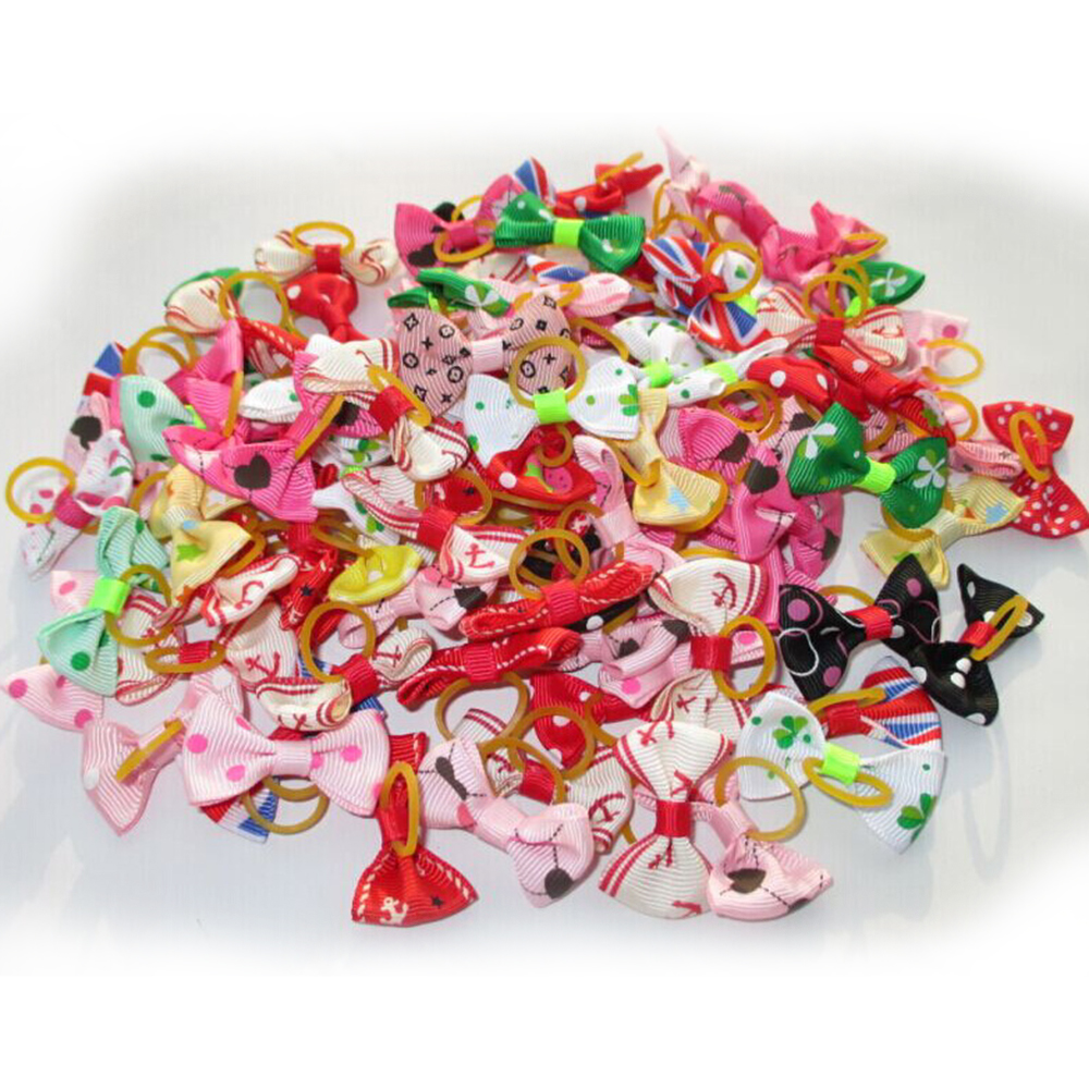 20Pcs Mixed Hair Bows Rubber Bands Candy colors Fashion Cute Dog Puppy Cat Kitten Pet Toy Kid Bow Tie Necktie Clothes decoration (4)