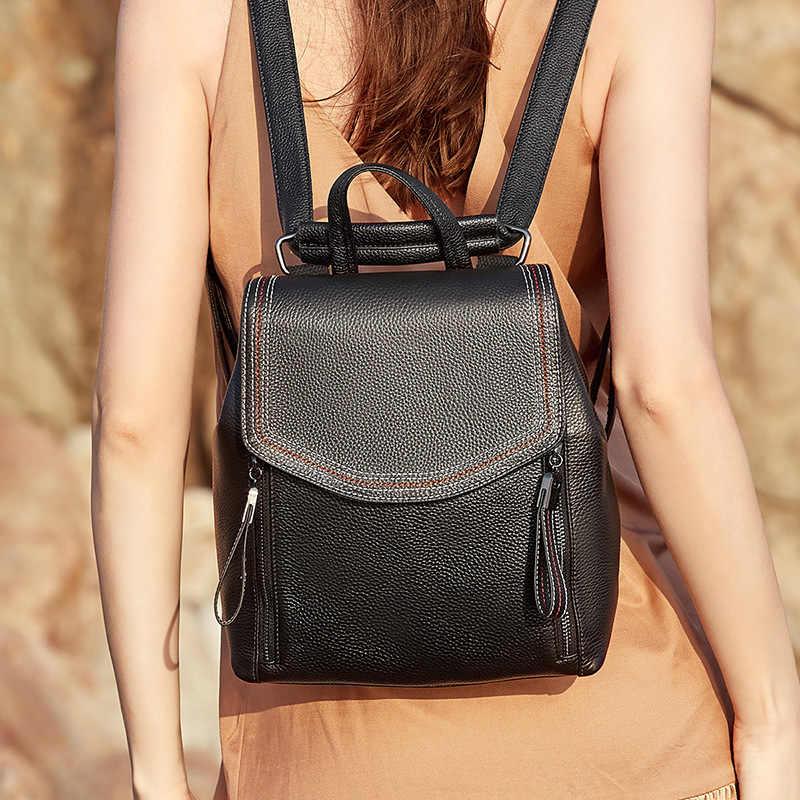 DIENQI النساء جلد طبيعي على ظهره الفاخرة كبيرة الأسود لينة السيدات على ظهره الإناث حقيبة الظهر حزمة عودة إلى حقيبة مدرسية sac دوس