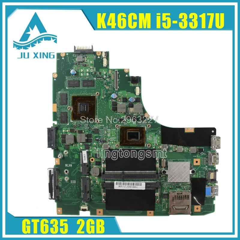A46CB K46CM K46CB K46C motherboard for Asus K46CM REV2.0 Mainboard processor I5-3317U GeForce GT 635M with 2GB DDR3 tested k46cm with 1007cpu gt635m 2gb mainboard for asus a46c k46c k46cb k46cm laptop motherboard 100% tested working well free shipping