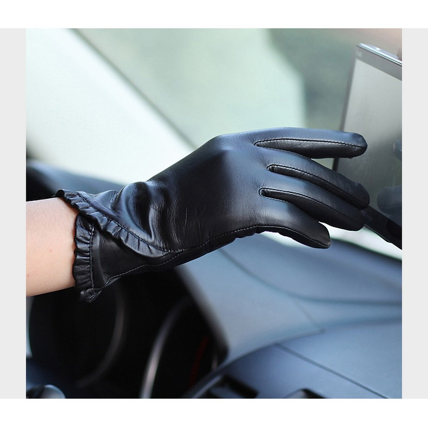 Touchscreen Ms Leather Gloves Winter Plus Velvet Warm Fashion Black Genuine Leather Goatskin Glove Women Driving L001NC1 in Women 39 s Gloves from Apparel Accessories