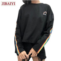 Cute Winter Rainbow Embroidery T Shirts Striped Long Sleeve T Shirt O Neck Women S Bottoming