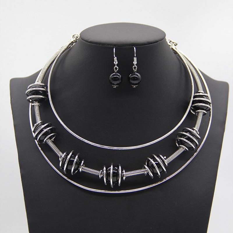 808c366f01 Nueva moda de oro de plata de Color simulado perla pendiente collar joyería  conjuntos nupcial boda Accesorios