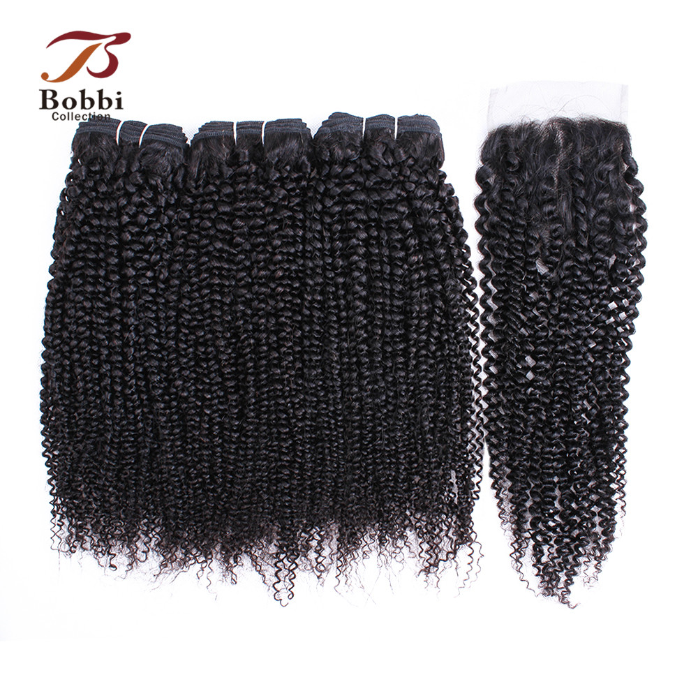 BOBBI COLLECTION Afro Kinky Curly Hair 3 4 Bundles With Closure Indian Remy Human Hair Weave