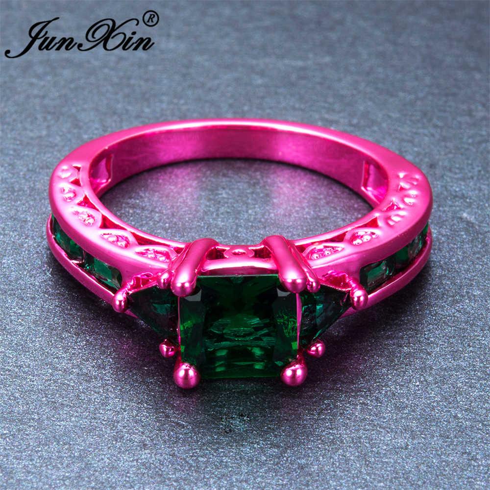 Junxin панк девушка зеленый геометрический кольцо розовый Gold Filled Свадебный Кольца для Для женщин Винтаж Jewelry Подарки на Новый год