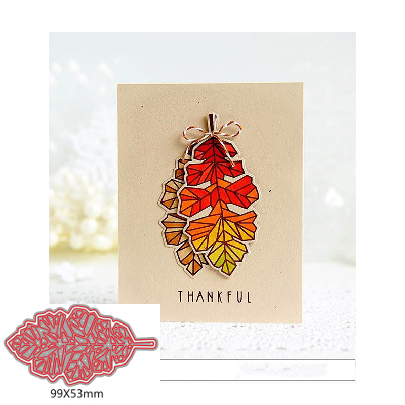 Leaf DIY Cutting Die Scrapbooking Template Silver Paper Card Album Photo Making Embossing Stencil Handicraft Decoration in Cutting Dies from Home Garden