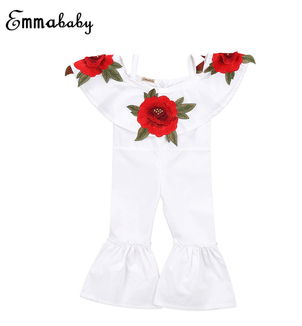 40292fdd0 Adorable Baby Girl Halter Embroidered 3D Rose Romper Jumpsuit Bell ...