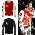 Kpop Bigbang Пальто G-dragon Куртка 2015 Новая Зимняя Bigbang GD Знак Бейсбол Равномерное Корейский Случайные Толстовка Bigbang Куртка