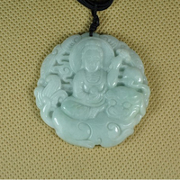 KYSZDL Natural Myanmar A cargo Emerald Guanyin pendant necklace men jade Pendant jewelry free gift necklace rope